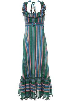 Zimmermann Woman Ruffled Striped Cotton Halterneck Maxi Dress Forest Green