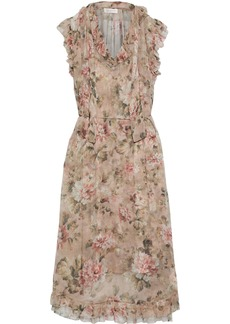 Zimmermann Woman Ruffled-trimmed Floral-print Silk-chiffon Midi Dress Multicolor