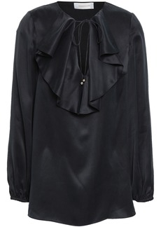 Zimmermann Woman Ruffled Washed-silk Blouse Black