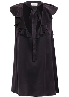 Zimmermann Woman Ruffled Washed-silk Top Dark Purple