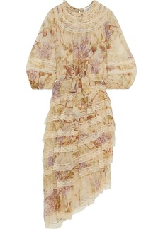 Zimmermann Woman Sabotage Tiered Lace-trimmed Floral-print Silk-chiffon Midi Dress Sand