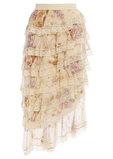 Zimmermann Woman Sabotage Tiered Lace-trimmed Floral-print Silk-chiffon Midi Skirt Cream