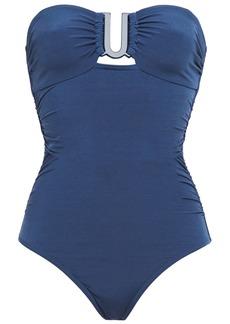 Zimmermann Woman Separates Sculpt Link Cutout Ribbed Bandeau Swimsuit Royal Blue