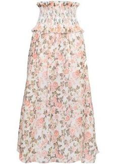 feac6b259 Zimmermann Woman Shirred Floral-print Linen And Silk-blend Midi Skirt Peach