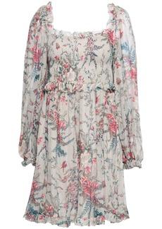 Zimmermann Woman Shirred Floral-print Silk-georgette Mini Dress Stone