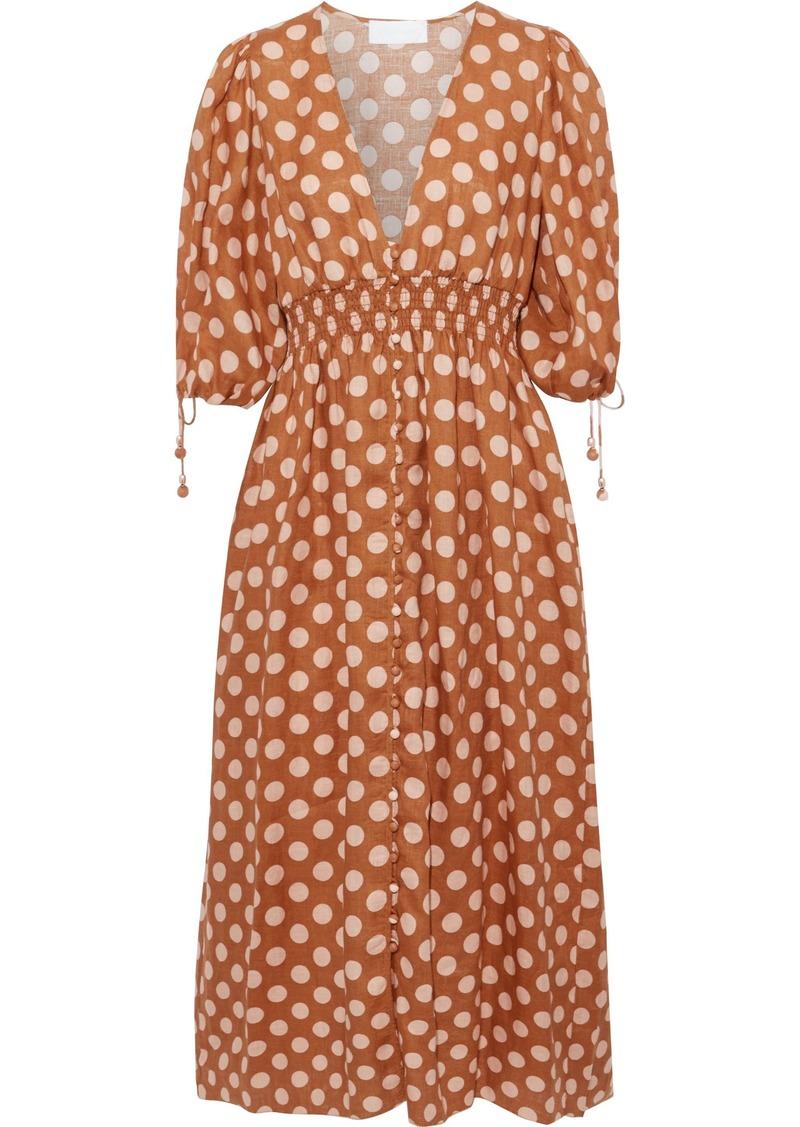 Zimmermann Woman Shirred Polka-dot Linen Midi Dress Tan