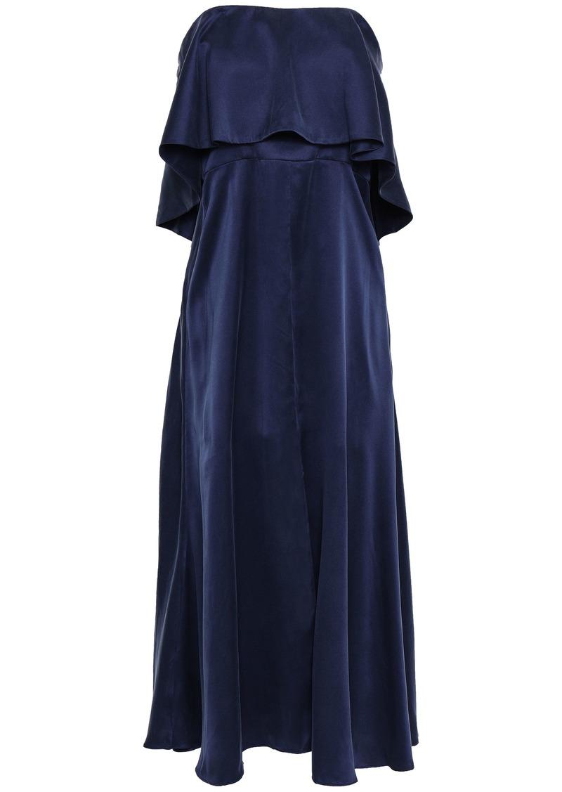 Zimmermann Woman Strapless Layered Washed-silk Midi Dress Indigo