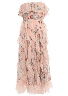 Zimmermann Woman Strapless Printed Silk-georgette Midi Dress Peach