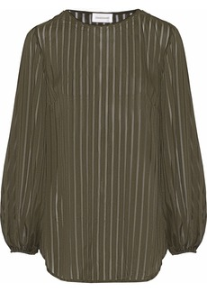 Zimmermann Woman Striped Burnout-chiffon Blouse Dark Green
