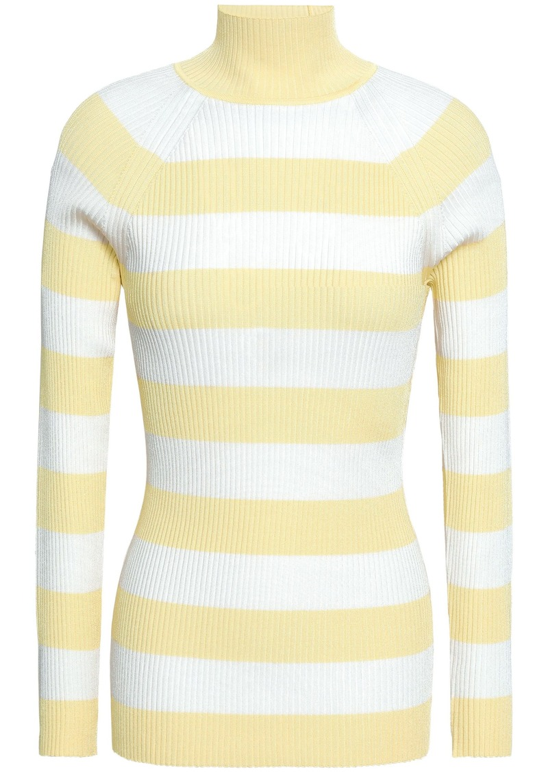 Zimmermann Woman Striped Ribbed-knit Turtleneck Sweater Pastel Yellow