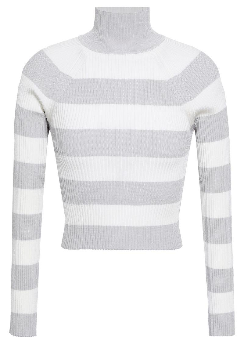 Zimmermann Woman Striped Ribbed-knit Turtleneck Sweater Light Gray