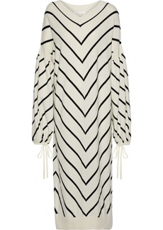 Zimmermann Woman Striped Wool And Cashmere-blend Midi Dress Ivory