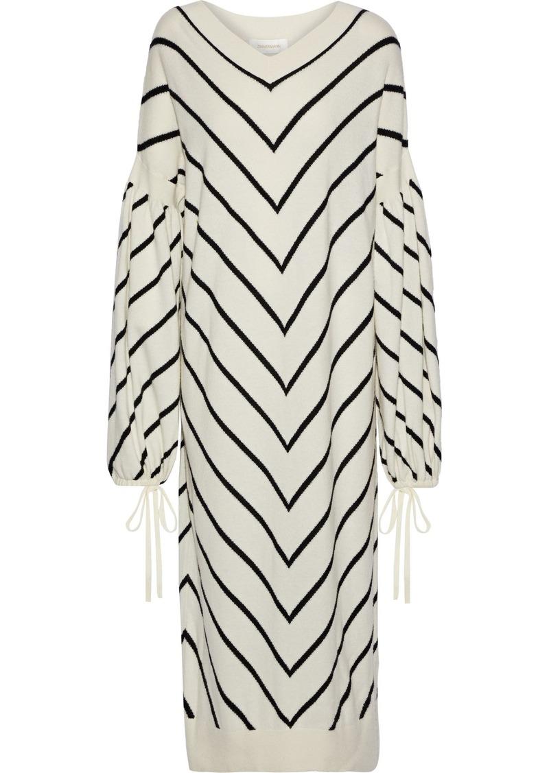 Zimmermann Woman Striped Wool And Cashmere-blend Midi Dress Ivory
