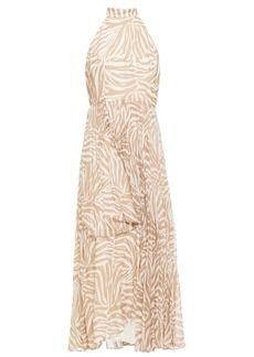 Zimmermann Woman Sunray Pleated Polka-dot Chiffon Maxi Dress Sand