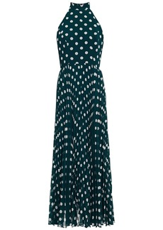 Zimmermann Woman Sunray Pleated Polka-dot Chiffon Maxi Dress Dark Green