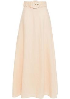 Zimmermann Woman Belted Linen Maxi Skirt Blush