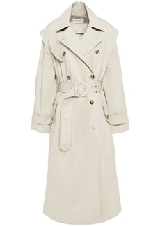 Zimmermann Woman Super Eight Crinkled Cotton-blend Gabardine Trench Coat Ecru