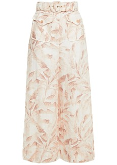 Zimmermann Woman Super Eight Safari Cropped Belted Printed Linen Wide-leg Pants Off-white