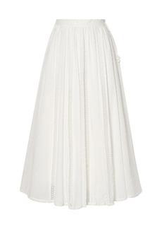 Zimmermann Woman Suraya Lace-trimmed Swiss-dot Cotton-voile Midi Skirt Ivory