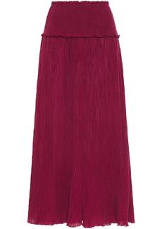 Zimmermann Woman Suraya Shirred Crinkled Ramie And Cotton-blend Midi Skirt Claret