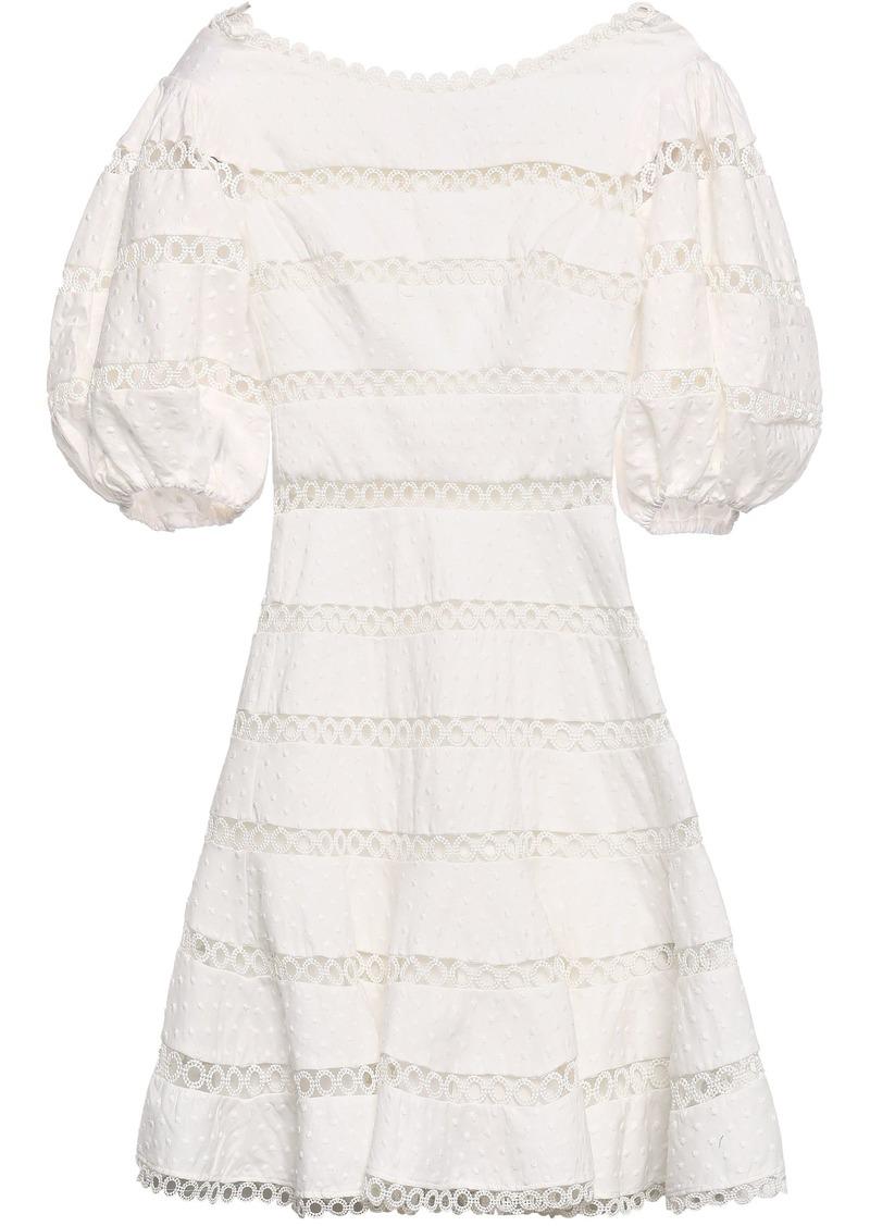 Zimmermann Woman Swiss-dot And Crocheted Linen And Cotton-blend Mini Dress Off-white