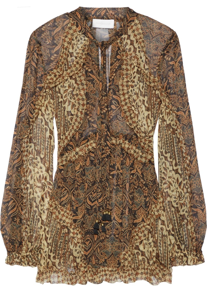 Zimmermann Woman Tali Batik Floating Ruffle-trimmed Printed Silk-georgette Blouse Black