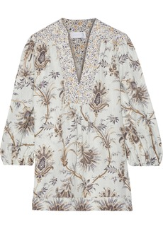 Zimmermann Woman Tali Bib Pintucked Printed Linen Blouse Mushroom