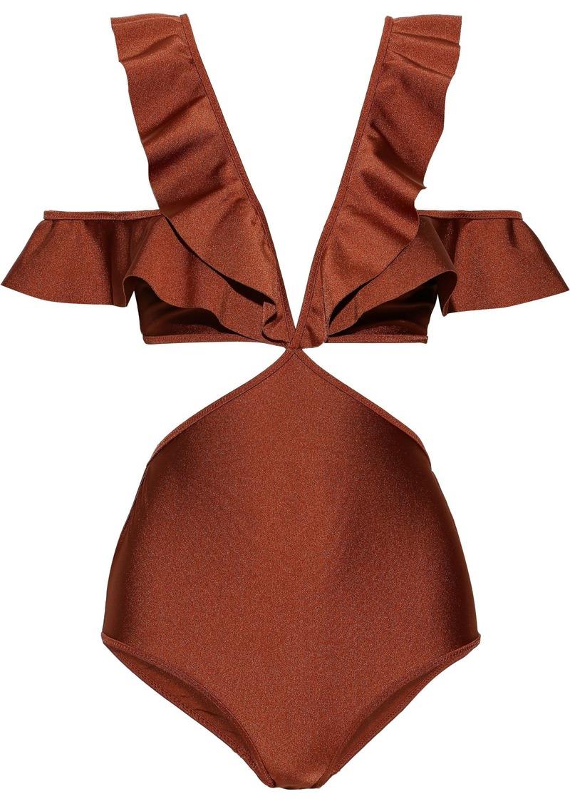 Zimmermann Woman Tali Flutter Cold-shoulder Cutout Swimsuit Bronze