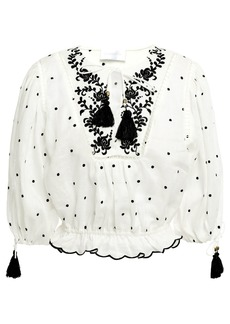 Zimmermann Woman Tassel-trimmed Embroidered Linen Blouse Ivory