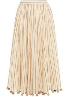 Zimmermann Woman Suraya Tassel-trimmed Metallic Striped Cotton-blend Gauze Midi Skirt Cream