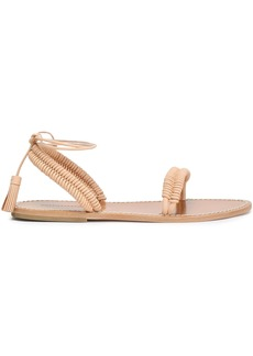 Zimmermann Woman Tasseled Braid-trimmed Leather Sandals Sand
