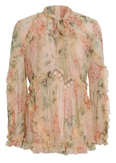 Zimmermann Woman Tasseled Floral-print Silk-georgette Top Peach