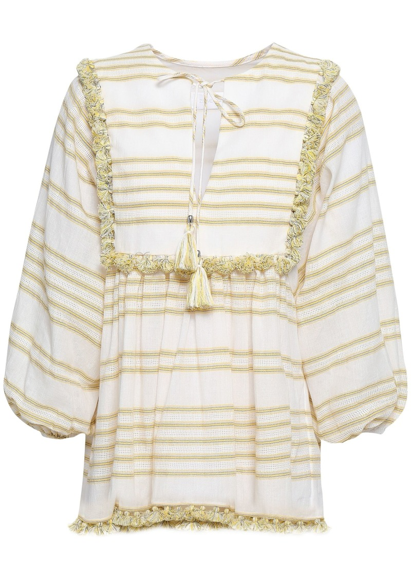 Zimmermann Woman Tasseled Striped Cotton-blend Blouse White