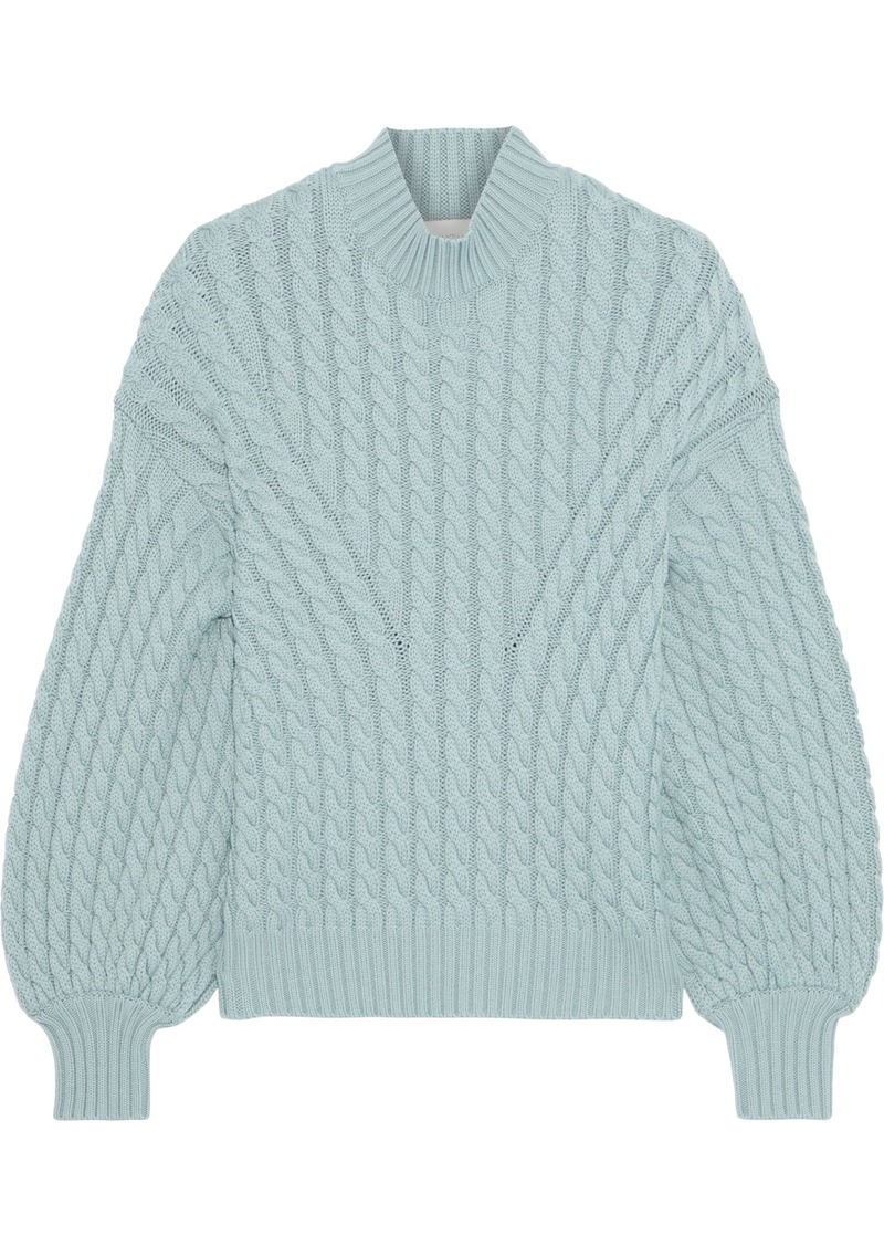 Zimmermann Woman Tempest Cable-knit Merino Wool Sweater Sky Blue