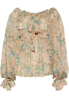Zimmermann Woman Tempest Floral-print Silk-georgette Blouse Blush