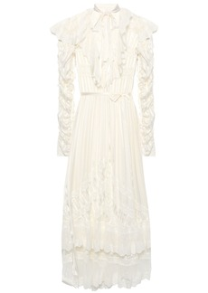 Zimmermann Woman Tempest Flutter Embroidered Tulle-paneled Striped Burnout Silk Midi Dress Ivory