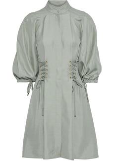 Zimmermann Woman Tempest Laced Silk-shantung Mini Dress Mint
