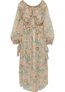 Zimmermann Woman Tempest Pussy-bow Floral-print Silk-georgette Midi Dress Peach