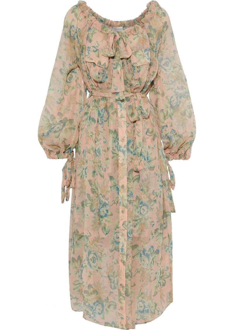 Zimmermann Woman Tempest Pussy-bow Floral-print Silk-georgette Midi Dress Peach