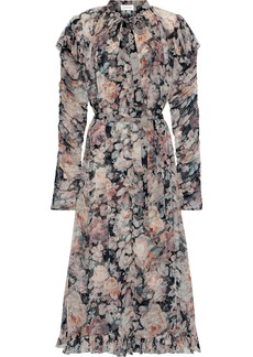 Zimmermann Woman Tempest Pussy-bow Floral-print Georgette Midi Dress Multicolor