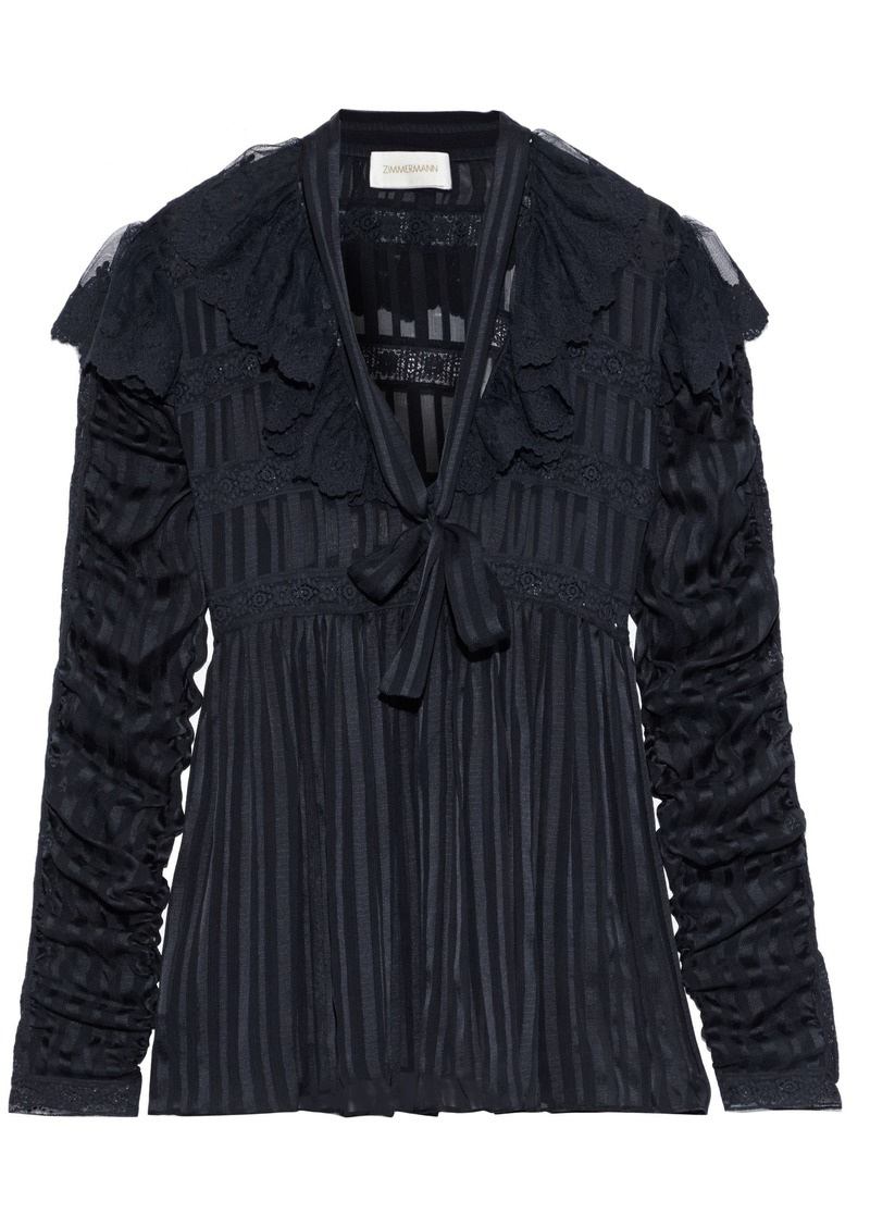 Zimmermann Woman Tempest Ruffled Lace-trimmed Striped Silk-georgette Blouse Navy