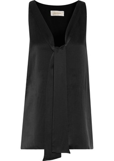 Zimmermann Woman Tie-front Washed-silk Tank Black