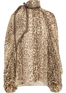 Zimmermann Woman Tie-neck Leopard-print Silk Crepe De Chine Blouse Animal Print