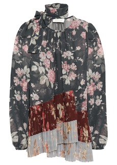 Zimmermann Woman Tie-neck Pleated Floral-print Georgette Blouse Charcoal