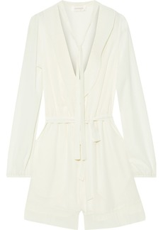 Zimmermann Woman Tie-neck Crepe De Chine Playsuit Ivory