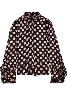 Zimmermann Woman Unbridled Tie-neck Polka-dot Fil Coupé Silk Blouse Black