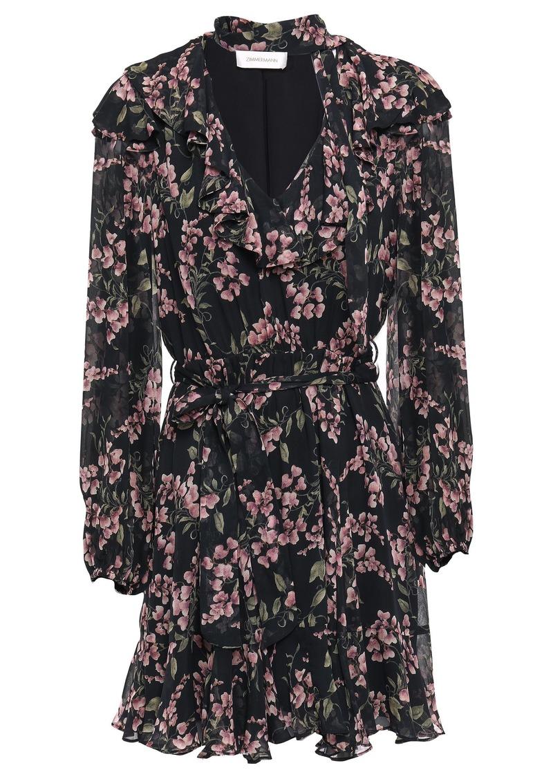 Zimmermann Woman Tie-neck Ruffled Floral-print Georgette Mini Dress Black