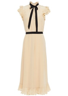 Zimmermann Woman Tie-neck Scalloped Silk Crepe De Chine Midi Dress Beige
