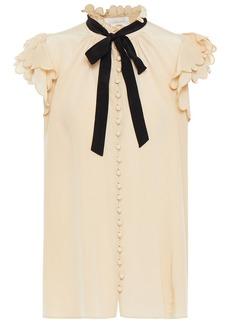 Zimmermann Woman Tie-neck Scalloped Silk Crepe De Chine Top Beige