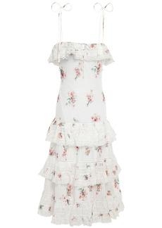 Zimmermann Woman Tiered Floral-print Cotton-gauze Midi Dress White